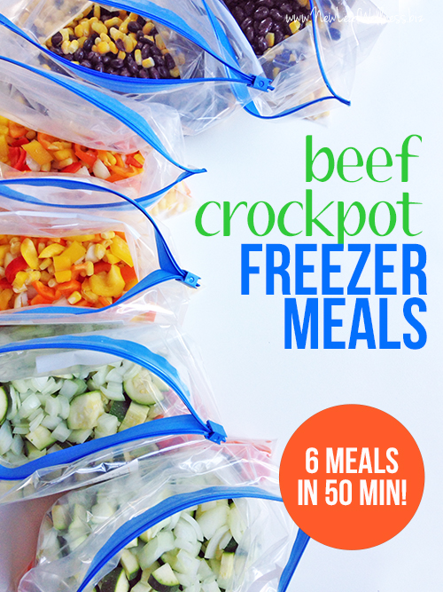 Make 6 ground beef crockpot freezer meals in 50 minutes for Meals that can be made with ground beef