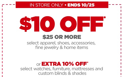 Jcpenney Coupon 10 Off 25 Purchase In Store Money