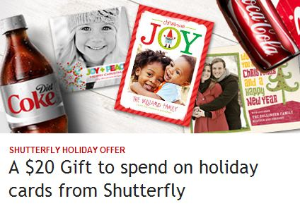 Coke Rewards $20 Shutterfly Holiday Cards Credit for just