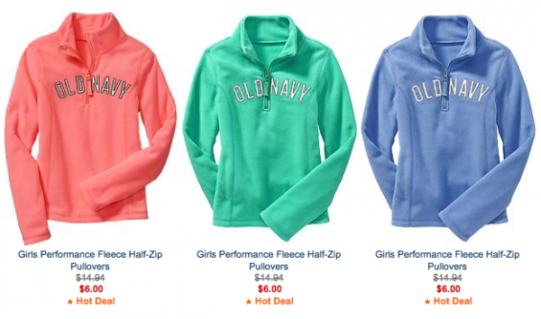 Old Navy: Girls' Performace Fleece Half-Zip Pullovers for $6 ...
