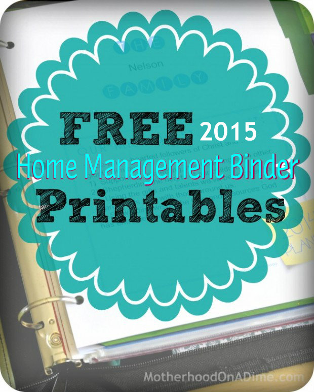 15 Articles To Help Organize Your Home For The New Year: Free Printable 2015 Home Management Binder