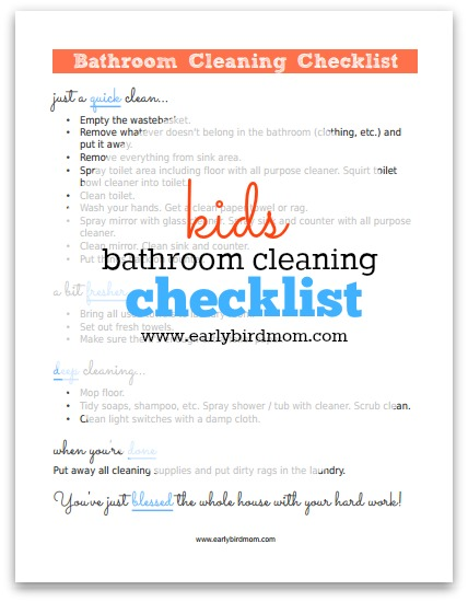 photo regarding Printable Cleaning Schedule for Working Moms named No cost Youngsters Toilet Cleansing List Printable Dollars