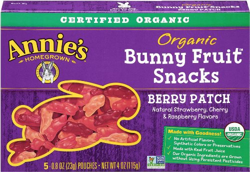 Annie's Homegrown Berry Patch Organic Bunny Fruit Snacks,0.8 oz., 5-Count Pouches (Count of 4) Deal
