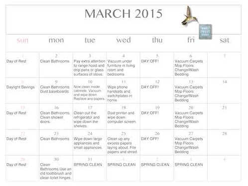 Free printable and editable cleaning calendar