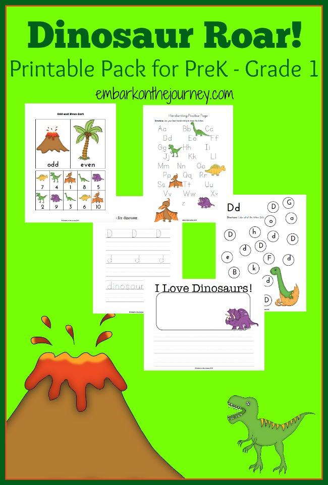 Free Dinosaur Printable Pack for PreK to Grade 1