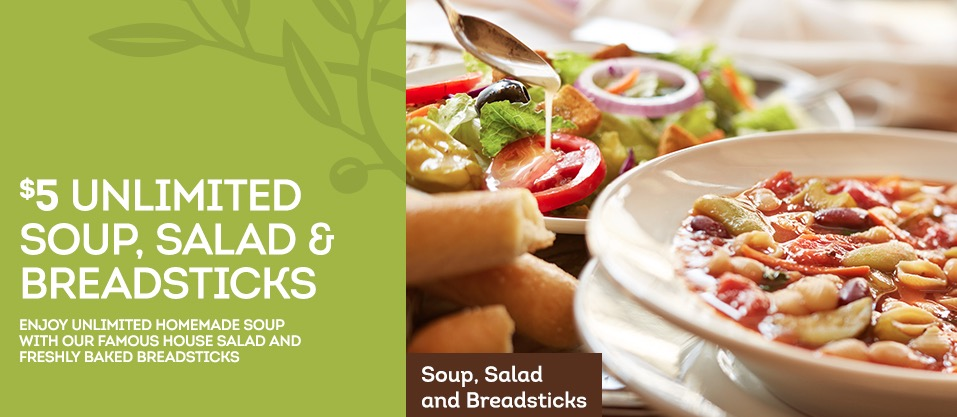 Olive Garden coupon Unlimited Classic Lunch Combo for 5 Money