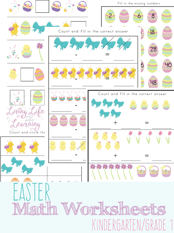 Free printable Easter-Themed Math Worksheets - Money Saving Momu00ae