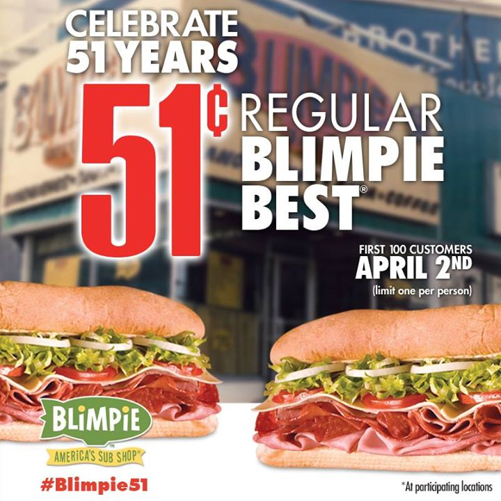 Get A Regular Blimpie For Just 0 51 Tomorrow First 100 Customers Money Saving Mom 174