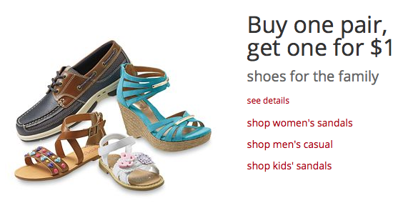 Buy One Pair of Shoes, Get One for $1 at Kmart