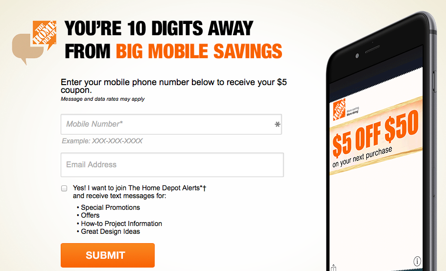 The Home Depot coupon: $5 off $50 (text offer) - Money Saving Mom®