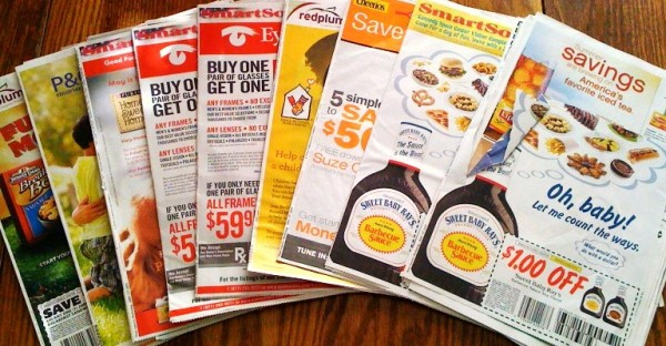 Coupons in the newspaper