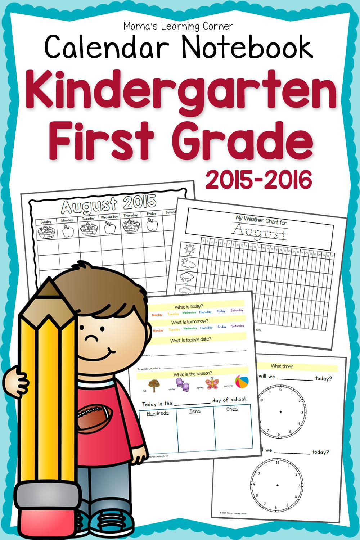 Free printable First Grade Calendar Notebook - Money ...