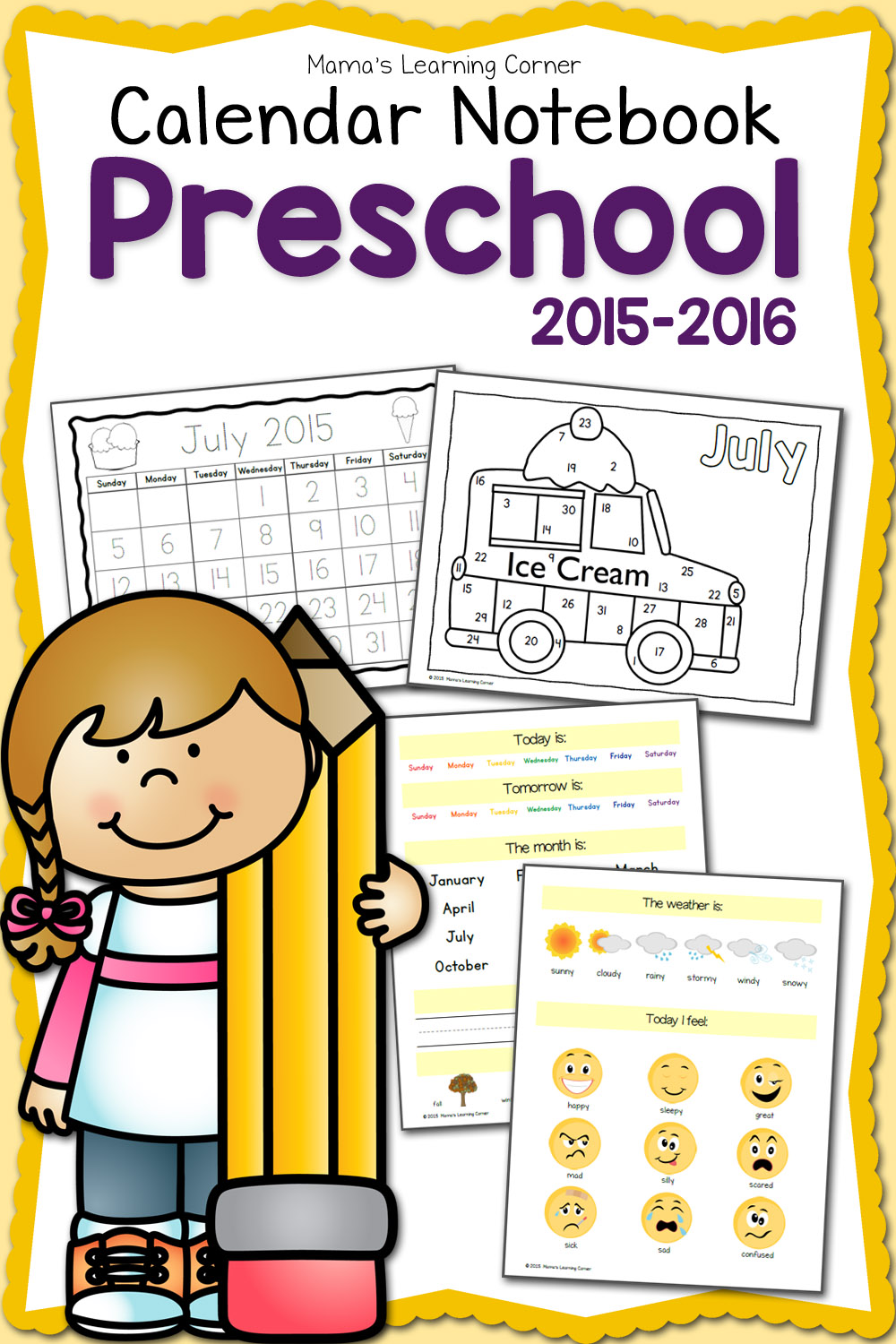 Free printable 2015 2016 Preschool Calendar Learning Notebook