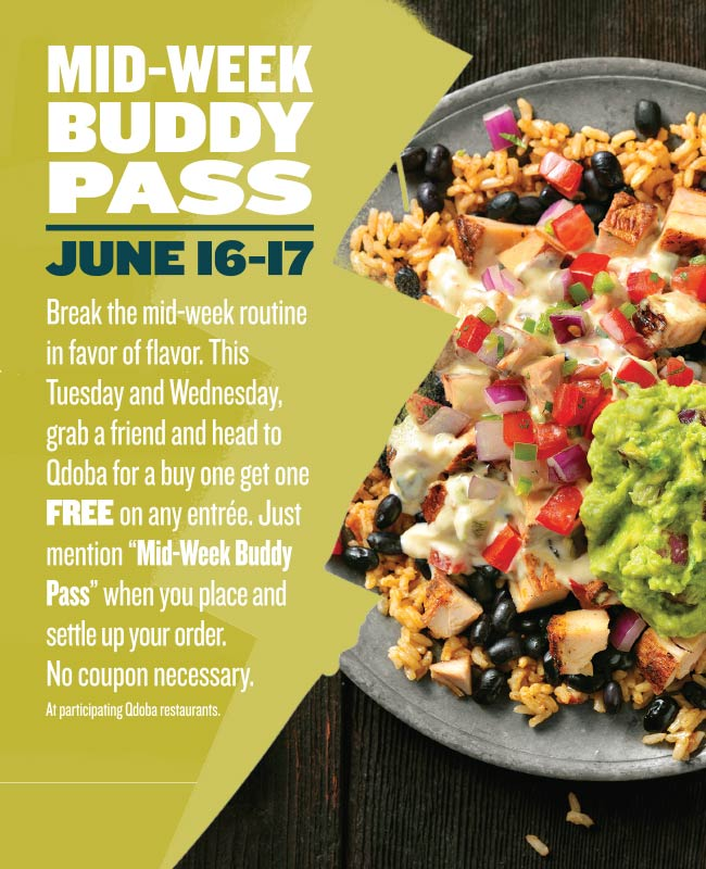photograph regarding Qdoba Printable Coupons named Qdoba: Order 1 Entree, Attain 1 Cost-free (Tuesday Wednesday