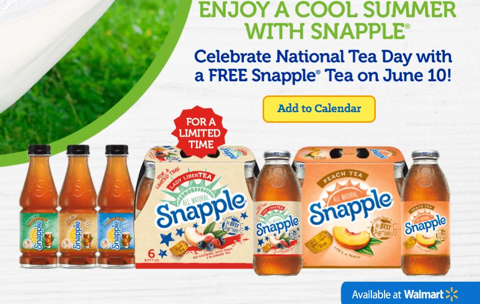 Free bottle of Snapple on June 10, 2014!