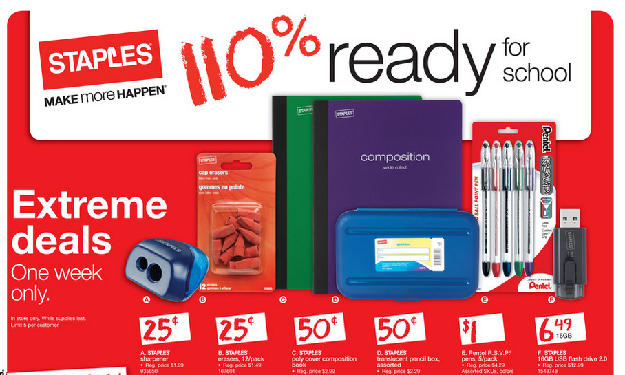 Staples Back to School Deals for this week