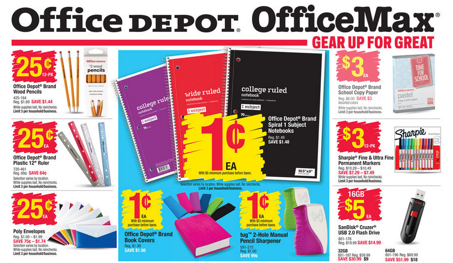 Office max office depot the best back to school deals for the week of august 16 2015 money - How to save money when purchasing office supplies ...