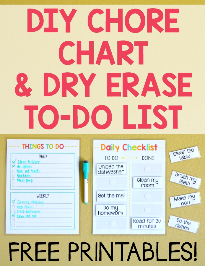 Free Diy Chore Chart  Dry Erase ToDo List  Money Saving Mom
