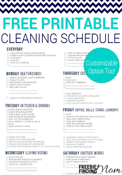 free printable cleaning schedule money saving mom