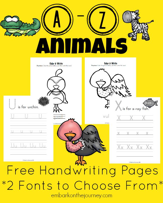 A-to-Z-Animal-Handwriting-Pages