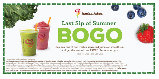 jamba juice  buy one  get one free smoothie