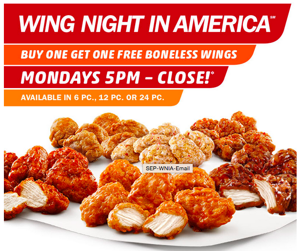 Buy One Get One Free Boneless Wings at Sonic
