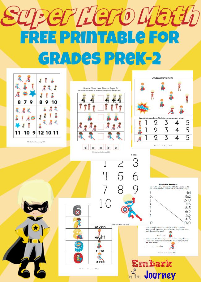 FreeSuper Hero Math Printable
