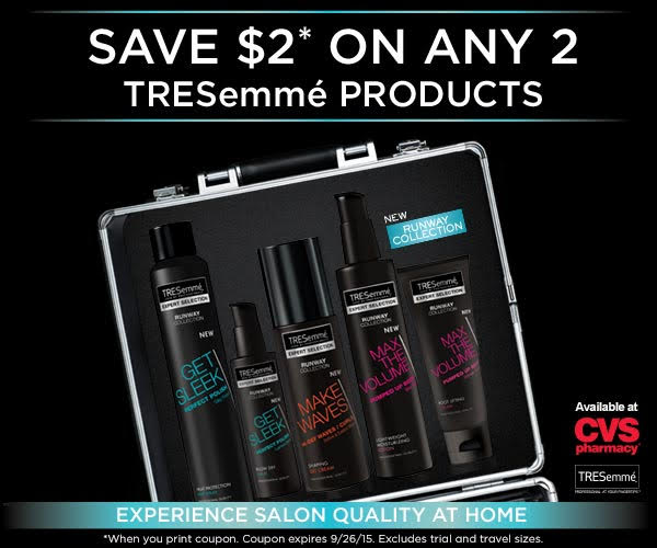 save  2 on tresemme   enter to win a  250 cvs gift card