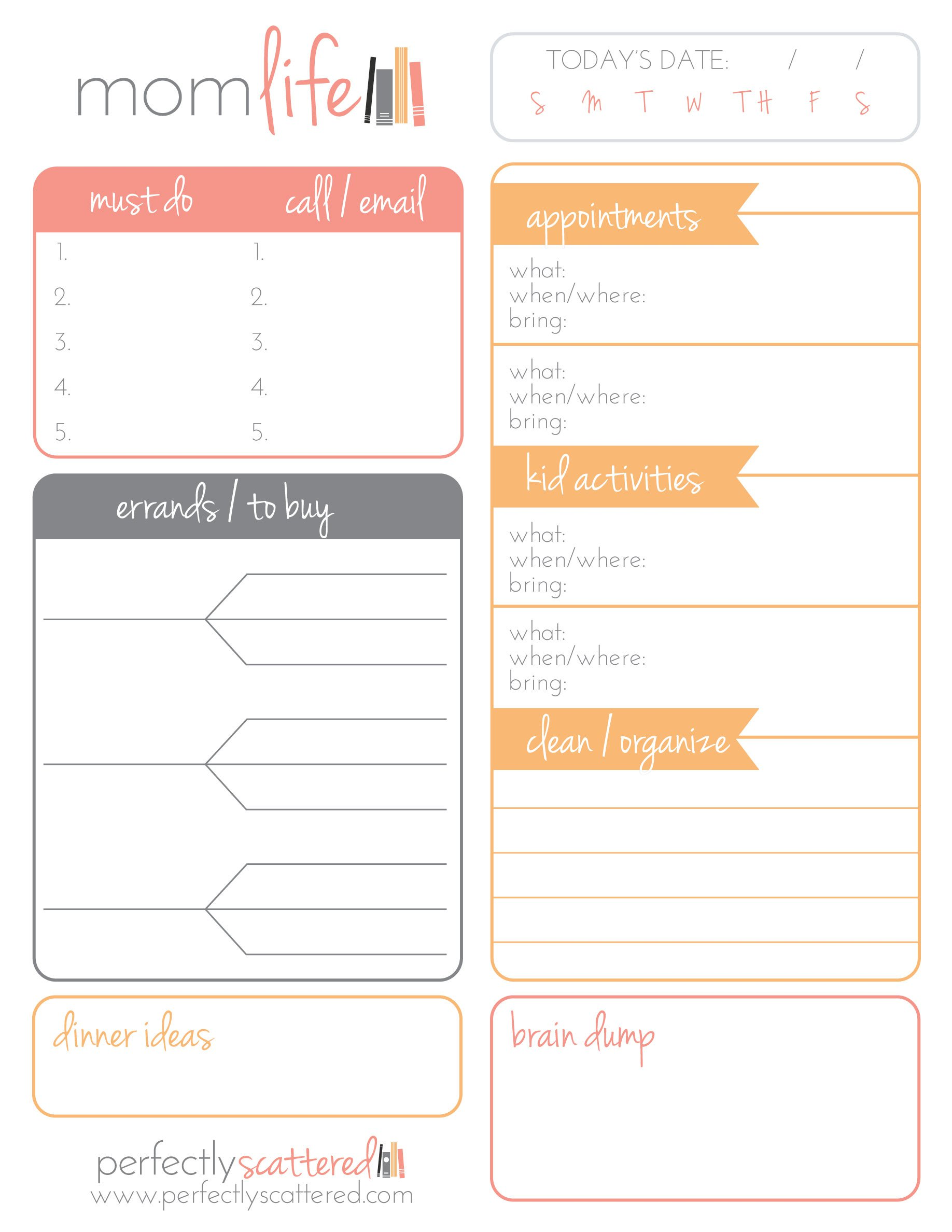 It's just a photo of Genius Mom Planner Printable