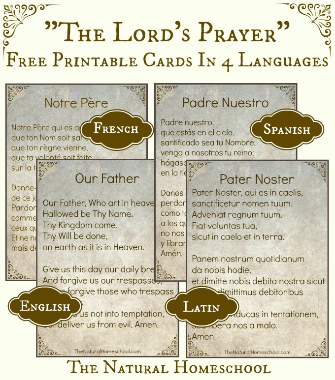 graphic regarding Printable Lords Prayer named No cost The Lords Prayer Printable Playing cards in just 4 Languages