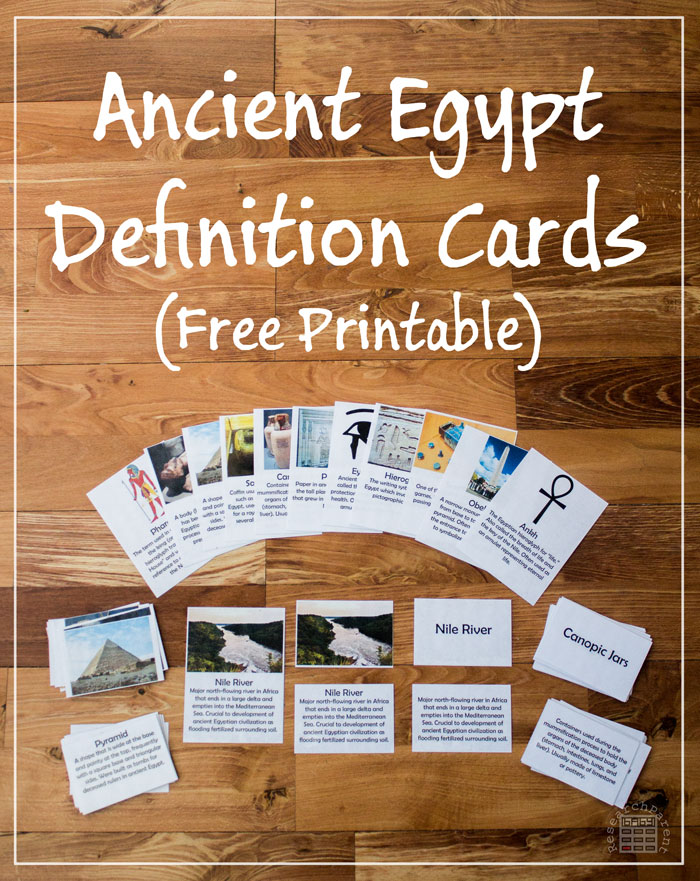 Free Ancient Egypt Definition Cards