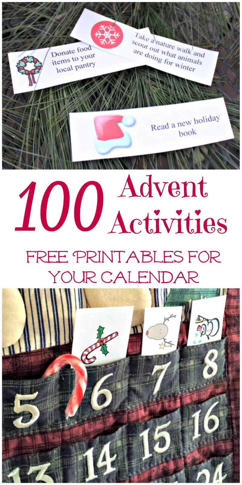 100 Free Advent Calendar Activity Printables