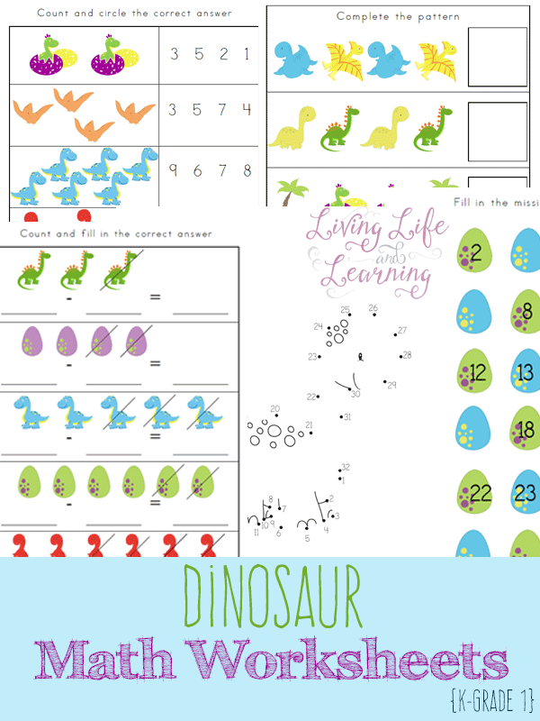 Free Dinosaur Kindergarten Math Worksheets - Money Saving Mom®