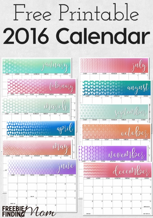 Free Printable 2016 Calendar - Money Saving Mom®