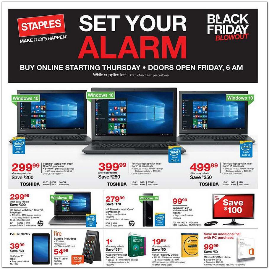 cbbhreview.ml just posted the page Staples Black Friday ad scan. Stores will open at 7 a.m. Black Friday. Online sales will start on Thanksgiving Day. There are some terrific deals on laptops.