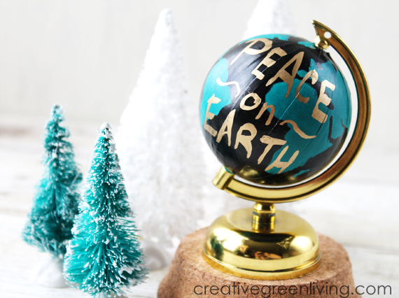 DIY Anthropologie wanderlust globe knock off Christmas ornament tutorial