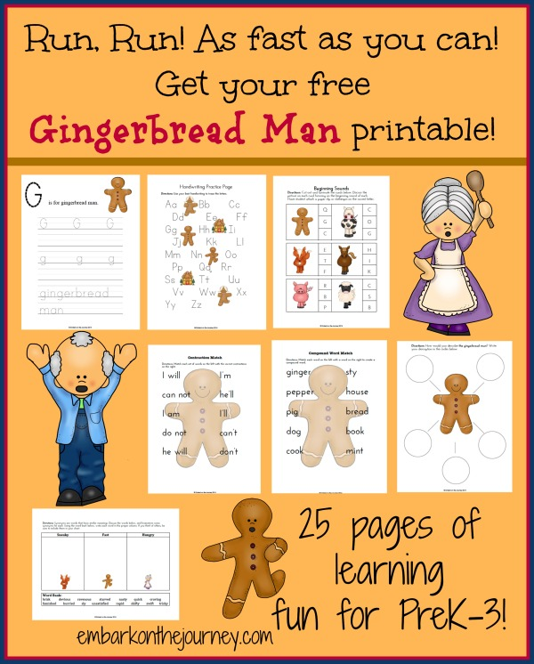 graphic relating to The Gingerbread Man Story Printable Free named Free of charge Gingerbread Person Printable Pack Fiscal Preserving Mother