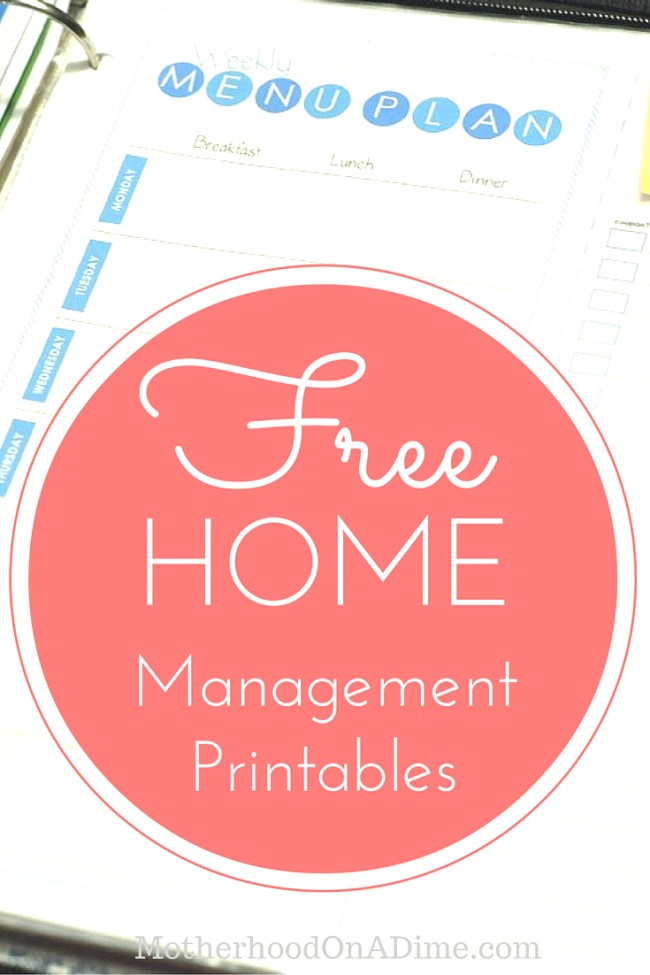 Download a set of free home management binder printables .