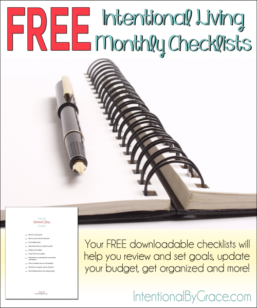 Free Intentional Living Monthly Checklists