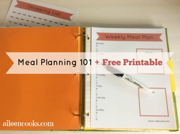 Free Meal Planning 101 Printable