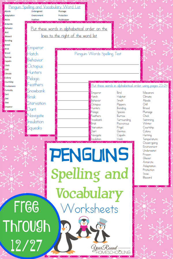 Free Penguins Spelling and Vocabulary Worksheets