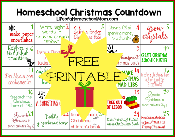 Homeschool Christmas Activities Countdown
