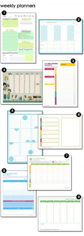 Nine Printable Weekly Planners
