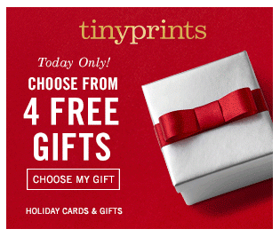 Choose from 1 of 4 free personalized gifts from Tiny Prints right now!