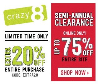 Up to 75% off Crazy 8 sale, plus extra 20% off coupon code!