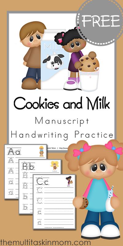 Free Cookies and Milk Handwriting Practice Printable