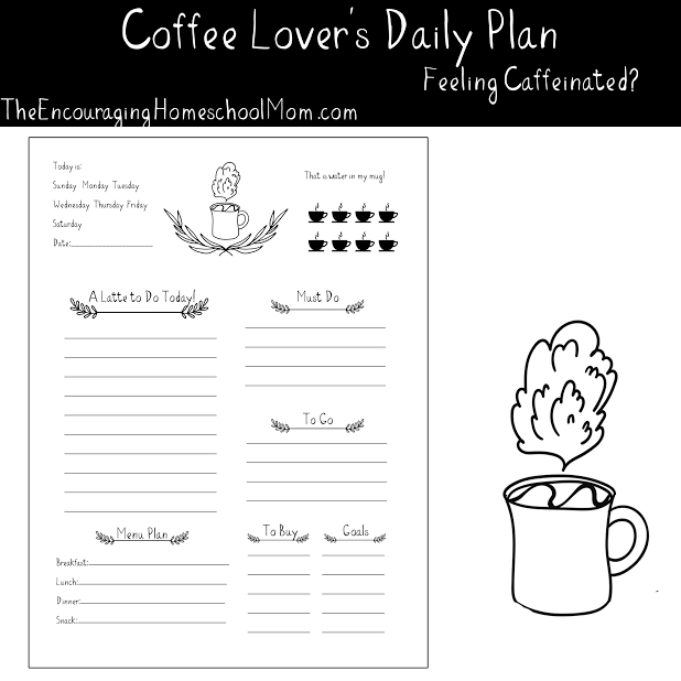 ... Download this super cute free coffee-themed printable daily planner