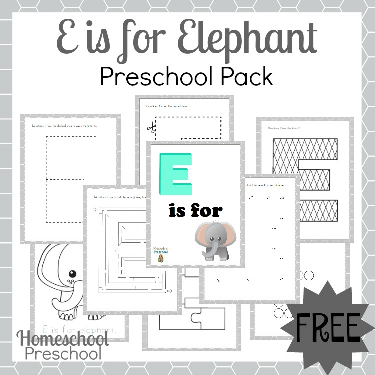 photograph about Free Elephant Printable titled Cost-free E is for Elephant Printable Preschool Pack Income
