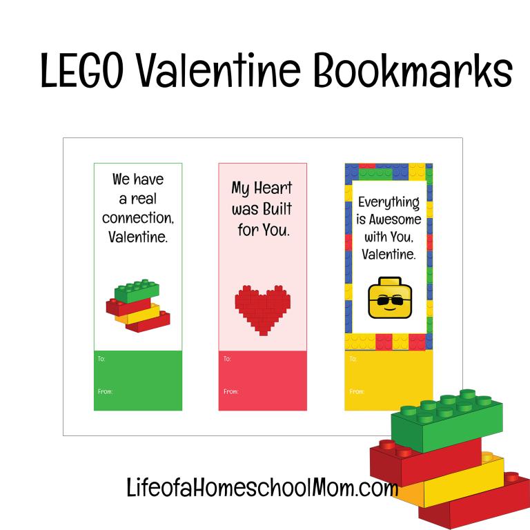 Free Printable LEGO Valentine Bookmarks