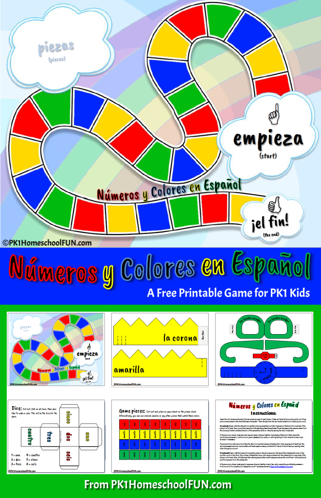 Free Printable Spanish Numbers and Colors Game